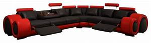 4087 red and black bonded leather sectional sofa with With 4087 red with black leather sectional sofa with recliners