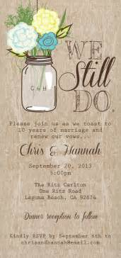 wedding vow renewal ceremony program jar printable invitation rustic wedding invitation we