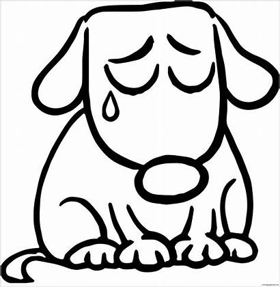 Sad Coloring Puppy Pages Clipart Coloringpagesonly
