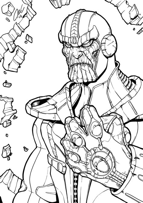 thanos infinity gauntlet line art by