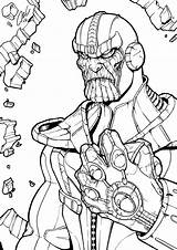 Thanos Infinity Coloring Gauntlet Pages Printable Marvel Line Avengers Drawing Boys War Drawings Lego Comic Super Superhero Children Deviantart Fan sketch template