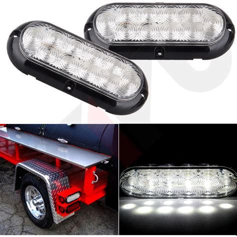clear led trailer tail lights 2x 6 quot clear white 10 led oval truck trailer stop turn