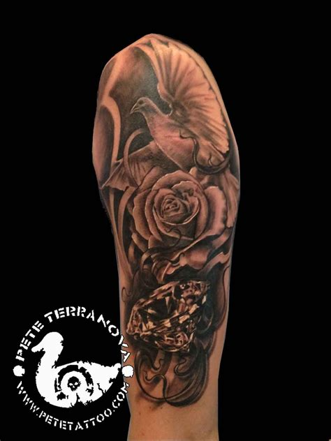 black  gray diamond rose  dove tattoo custom tattoos tattoos custom tattoo dove