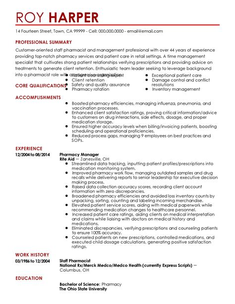 Staff Pharmacist Duties Resume by Professional Retail Staff Pharmacist Templates To Showcase Your Talent Myperfectresume