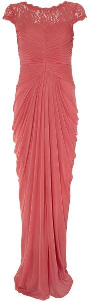 Papell Lace Bodice On Draped Skirt - papell lace bodice on draped skirt in pink coral
