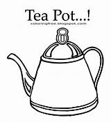 Coloring Tea Drink Kettle Teapot Fashioned Clipart Outline Printable Drawing Easy Coffee Chocolate Template Pot Simple English Funny Templates sketch template