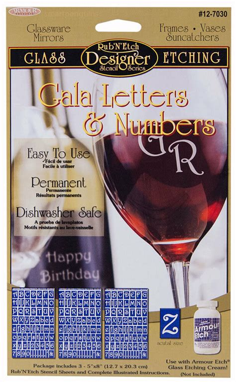 armour rubnetch glass etching stencils gala letters