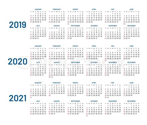 years calendar stock vector colourbox