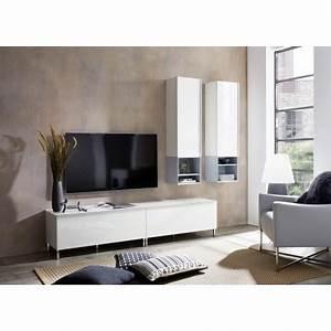 Meuble Salon Blanc : meuble tv salon contemporain blanc amazone cbc meubles ~ Dode.kayakingforconservation.com Idées de Décoration