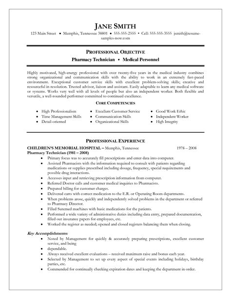 Resume Objective For Entry Level Pharmacy Technician by Entry Level Pharmacy Technician Resume Exle Free