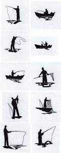 Machine Embroidery Designs Fisherman Silhouettes Set
