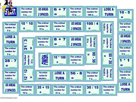 Cardinal And Ordinal Numbers Animated Board Game By
