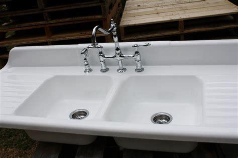 1940 Cast Iron Farmhouse Sink, (66 X 24) Double Basin