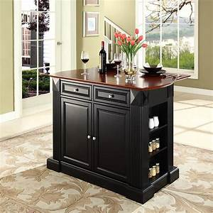 shop crosley furniture 48 in l x 35 in w x 36 in h black With kitchen cabinets lowes with 2 sided window stickers