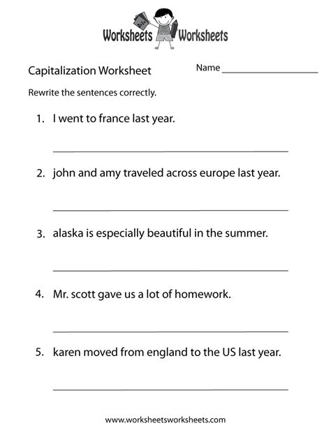 capitalization worksheets capitalization practice
