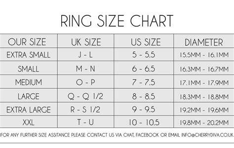 ring size chart ring size conversion chart uk   mm cherry diva