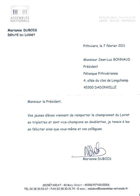bureau de coin lettre felicitation du depute petanque pithiverienne