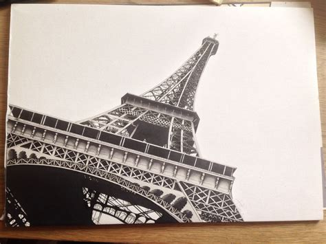 drawing   eiffel tower   papier whit flowers
