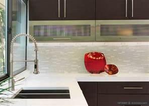modern espresso kitchen marble glass backsplash tile