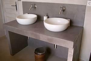 fabriquer meuble salle de bain double vasque With salle de bain design avec evier salle de bain a poser