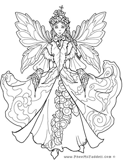 Detailed Coloring Pages for Adults Court Fairy 2