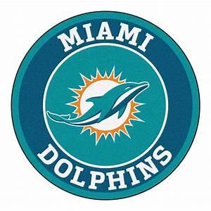 "Miami Dolphins Logo Roundel Mat - 27"" Round Area Rug"