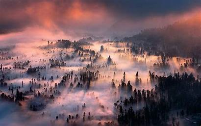 Indonesia Sunrise Landscape Forest Mountain Mist Wallpapers