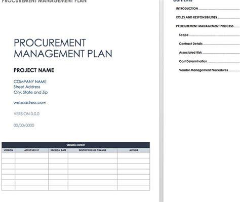 procurement management plan templates excel excel