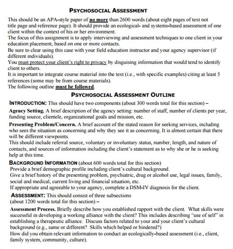 psychosocial assessment template 9 sle psychosocial assessments pdf doc sle templates