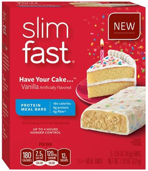 Amazon.com: Slim-Fast Meal Bars, Have Your Cake, 5 Count
