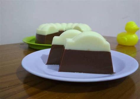 resep  membuat puding coklat susu lumut lembut
