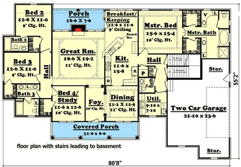 4 bedroom house plans with basement 4 bedroom house plan with options 11712hz