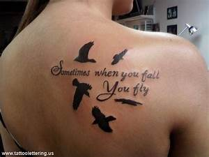 Shoulder Blade Tattoo Quote - Sometimes when you fall you ...