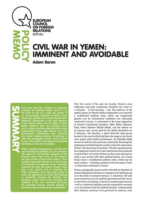 civil war in yemen imminent and avoidable european