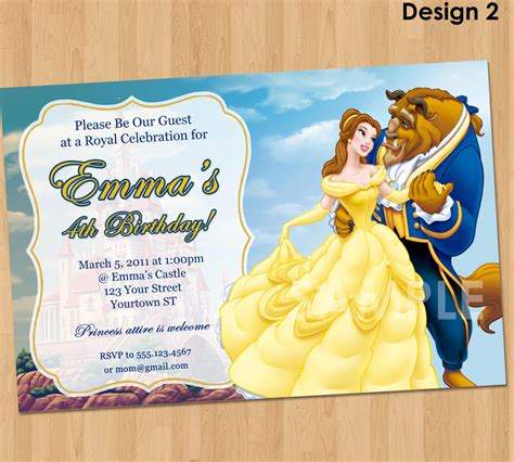 beauty   beast invitation princess belle party