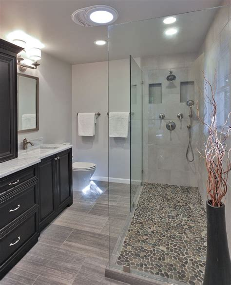pebble shower floor bathroom transitional  bath