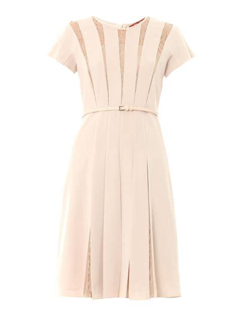 lace panel pleated dress lyst max mara studio filmato dress in