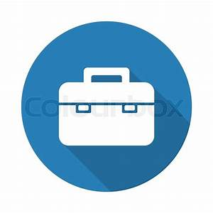 Flat white Briefcase web icon with long drop shadow on