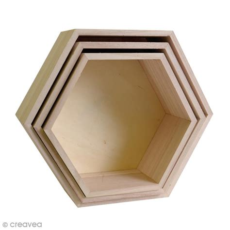 deco cuisine boutique set 3 étagères hexagonales à décorer de 24 à 30 cm