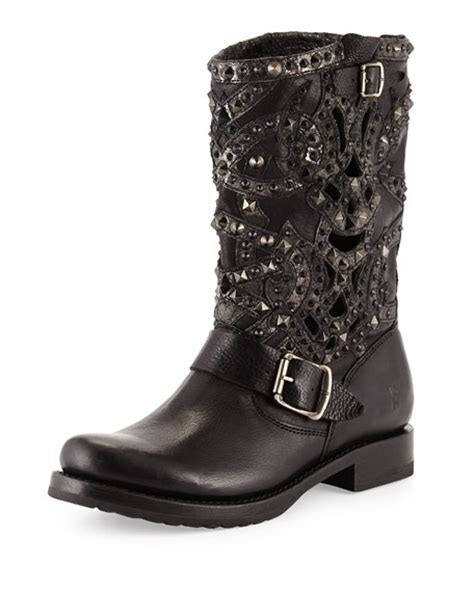 Lazer Boot by Frye Veronica Studded Laser Cut Leather Boot Black