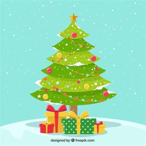 fondo nevado de bonito 225 rbol de navidad con regalos