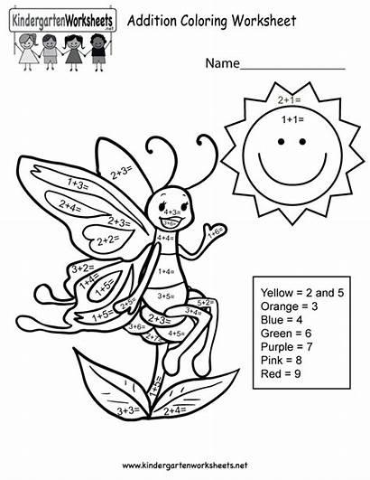 Coloring Worksheets Math Addition Kindergarten Worksheet Number
