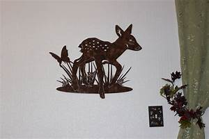 Hand Crafted Deer Fawn With Butterfly Metal Wall Art