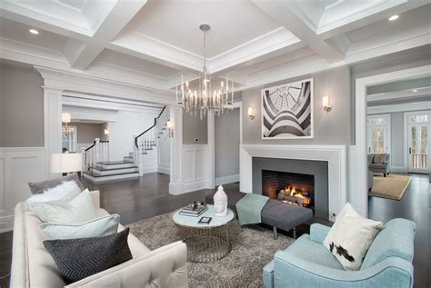Transitional Living Room With Crown Molding And