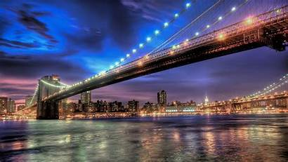 Night York Lights Bridge Wallpapers Desktop Wallpapermaiden
