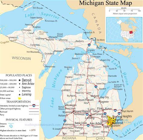 michigan state map  large detailed map  michigan