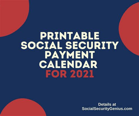 Check spelling or type a new query. Printable Social Security Payment Calendar - 2021 - Social Security Genius