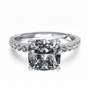 cushion cut diamond engagement ring in 14k white gold With cushion cut halo engagement ring with wedding band