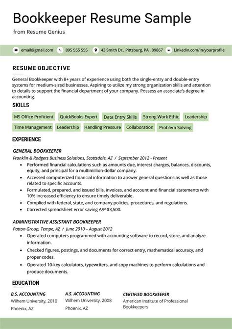 Bookkeeper Resume by Bookkeeper Resume Sle Guide Resume Genius