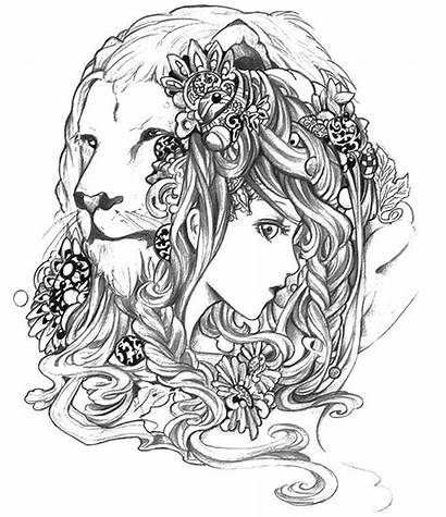Coloring Pages Adult Leo Astrology Zodiac Colouring